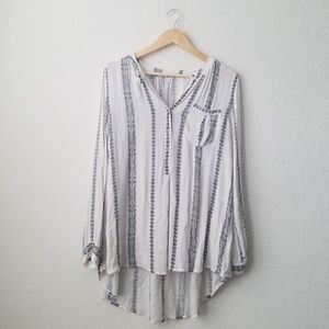 Free people cream and black high low tunic top